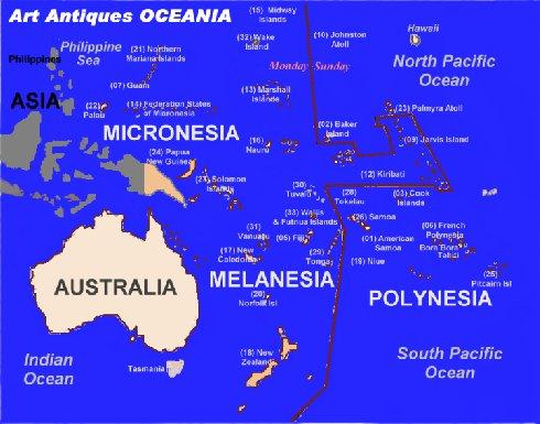 OCEANIA PACIFIC Oceanian Art Antiques WORLD ART ANTIQUES Art - Wallis and futuna map